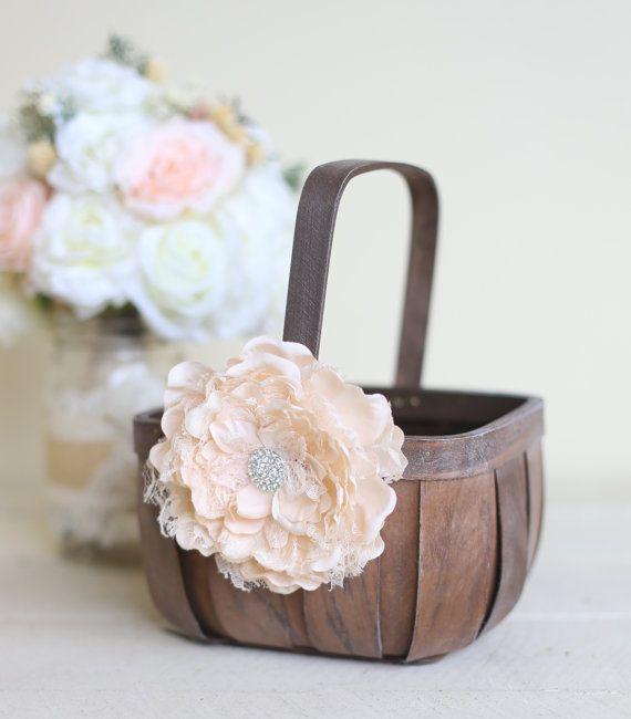Rustic Flower Girl Basket Lace Rhinestones by Morgann Hill Designs  / http://www.deerpearlflowers.com/flower-girl-basket-ideas/