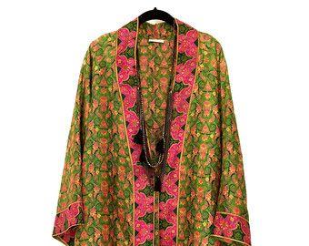 Giacca kimono di seta / spiaggia copertina up / navy e di Bibiluxe