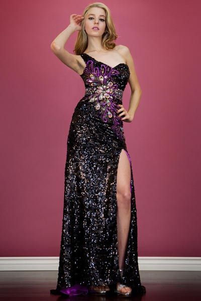 PRIMA C1313166 Black Purple Sequin One Shoulder Prom Dress