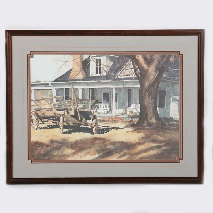 limited edition offset lithograph after a 1980s watercolor painting by American artist Ruthie Windsor-Mann. The piece, titled Roddy Farm House depicts a rural farmhouse and rustic wooden farm wagon on a sunny day. A bare tree casts long shadows over the foreground, as sunlight illuminates the house's veranda. The piece is signed in plate to the lower left, with an additional graphite signature above, and hand-numbered 42/1000. The print is matted in mauve and grey and presented under glass…