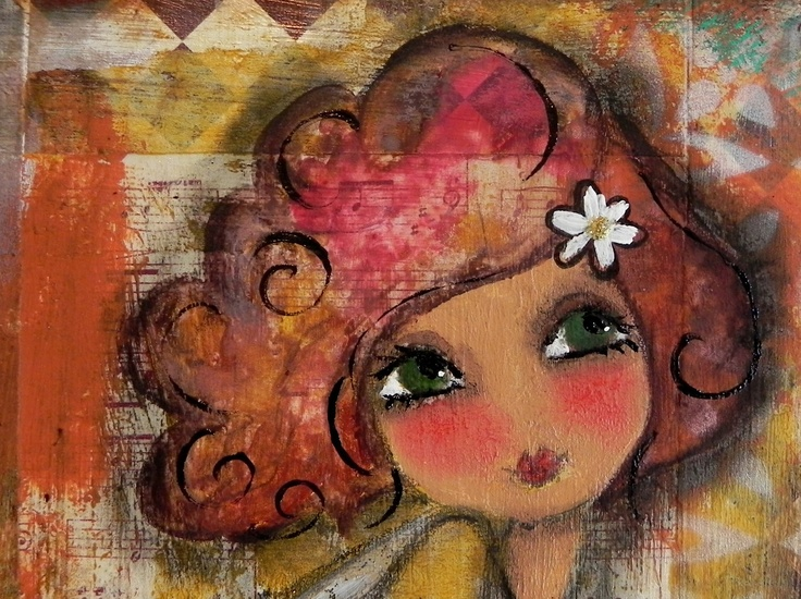 Raspberry Hair -She remained true to herself 2012 She SAid Original mixed media creation. $60.00, via Etsy.