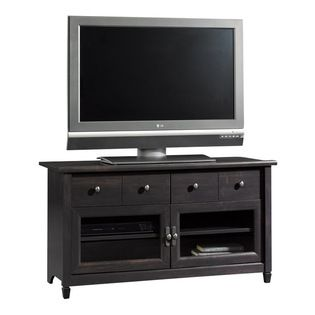 Sauder - Sauder Edge Water Panel TV Stand in Estate Black - Sauder - TV Stands - 409047 - Adjustable shelf behind each framed safety-tempere...