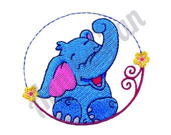 Elefante de dibujos animados - diseño de máquina del bordado