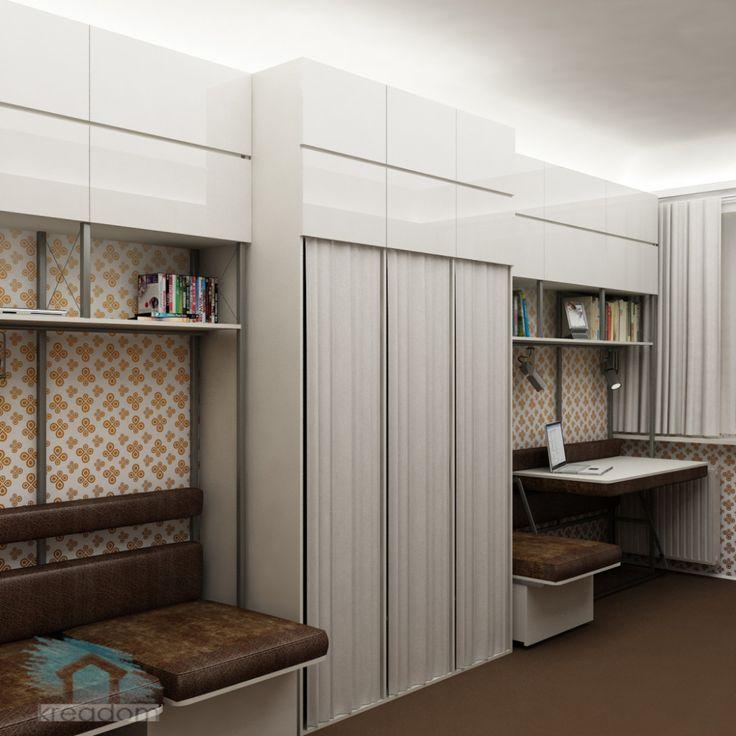 Интерьер комнаты в общежитии для семьи