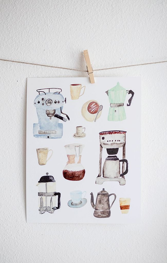 Coffee watercolor illustration.