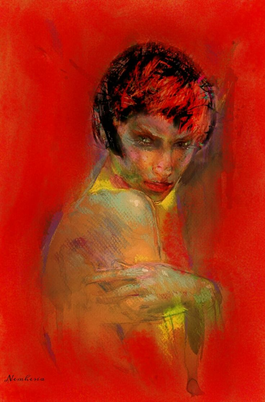 C'è nella gelosia più amor proprio che amore. - François De La Rochefoucauld -   Digital art by Nemhesia.  #art #woman #jealousy #red #emotional #bad #eyes #sexy #malignant