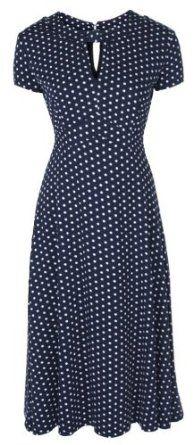 Lindy Bop 'Juliet' Classy Blue Polka Dot Vintage Ww2 Landgirl 1940s 1950s Pinup Retro Tea Dress: Clothing