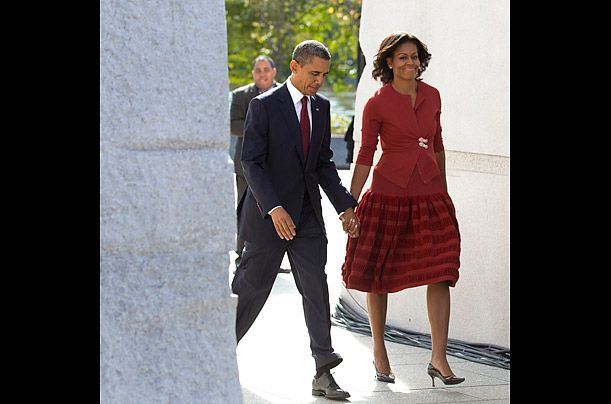 I really don't need to defend this $2,500 Azzedine Alaïa skirt + cardigan outfit. I don't care how much it is. It is pretty.: Presidents Obama, Lady Michele, Michelle Obama, U.S. Presidents, Obama Style, Cheerful Dresses, Flotus Fashionfamili, First Lady, Barack Obama