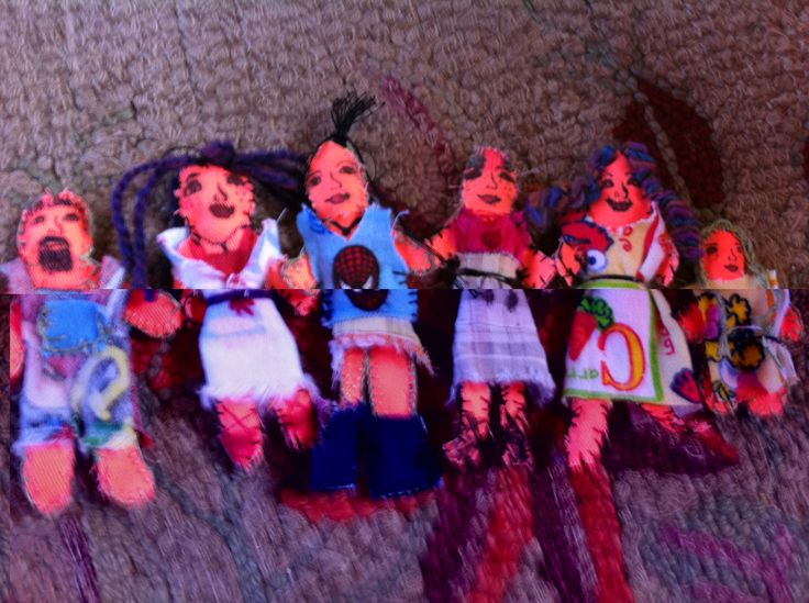 Residents of Sugarville, created from fabric scraps.