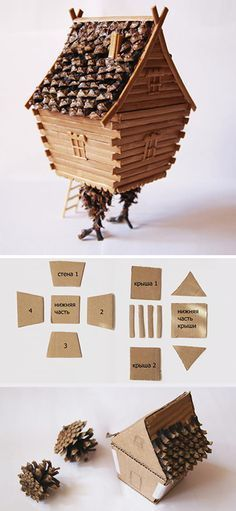 How to make wooden miniature house. Click on image to see step-by-step tutorial