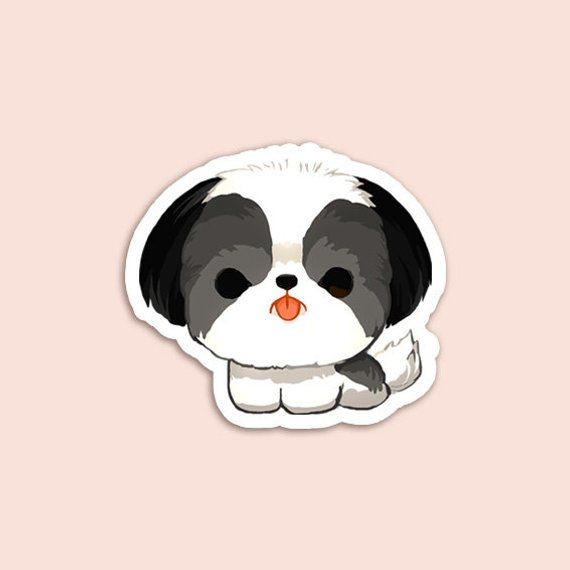 Vinyl Sticker Black And White Shih Tzu Doodle Cartoon Black And