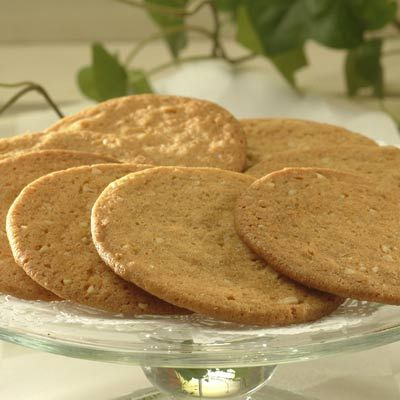 Butterscotch Thins - betcha can't eat one.  Made these years ago, and every time I eat Pepperidge Farm Bordeaux cookies, I think of these other wonderful cookies.
