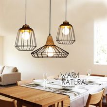 Retro Loft Lustre enciende Vintage Industrial jaula colgante Bar lámparas colgantes luminaria pendente de teto luminaria(China (Mainland))