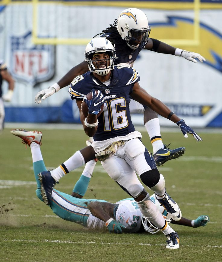 Dolphins vs. Chargers:  31-24, Dolphins  -  November 13, 2016  -   Tyrell Williams scores against the Miami Dolphins during the second half of an NFL football game in San Diego, Sunday, Nov. 13, 2016. (AP Photo/Denis Poroy) AP, DENIS POROY