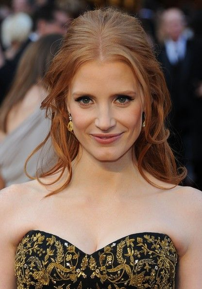 Jessica Chastain Half Up Half Down: Jessica Chastain, Hair Beautiful, Chastain Half, Bridesmaid Hair, Down Hairstyles, There Lfup, Chastain Hair, Formal Hairstyles, Hair Color