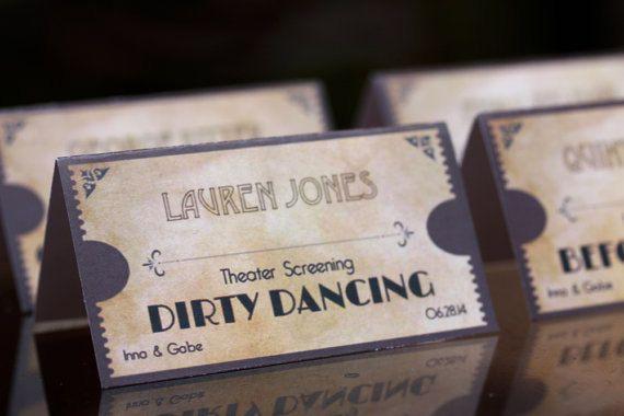 Printable Escort Cards Movie Ticket Wedding theme  Warm