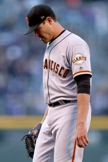 Giants-Dodgers tickets plunge to $6 after brutal start  -  April 24, 2017  DENVER, CO - APRIL 22: Starting pitcher Matt Moore #45 of the San Francisco Giants walks off the field after giving up three runs in the first inning to the Colorado Rockies at Coors Field on April 22, 2017 in Denver, Colorado. (Photo by Matthew Stockman/Getty Images)