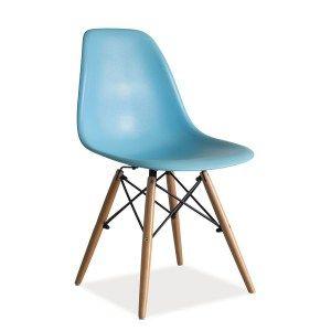 Moderná stolička s drevenou podnožou v prevedení buk, sedák vyrobený z polypropylénu.  Farebné prevedenia biela, čierna, šedá, modrá,oranžová a žltá.  Dodávané v demonte.