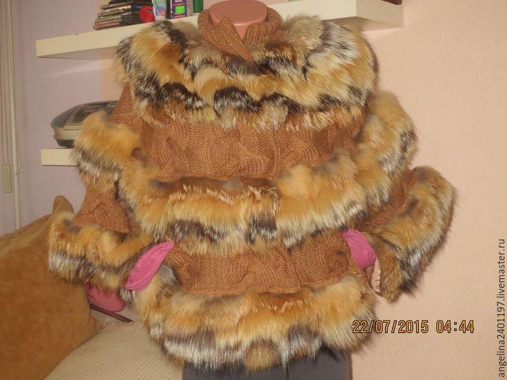 """Купить пончо""""Лисонька"""" из меха рыжей лисы и лисы чернобурки - оранжевый, в полоску, мех лисы"""