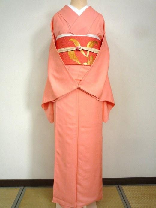加賀友禅 一つ紋 色無地 袷 ピンク