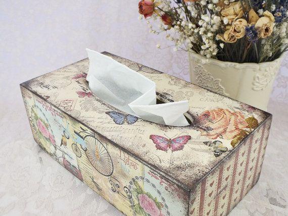 Kleenex box cover Wooden tissue box cover by VintageLullabyDesign