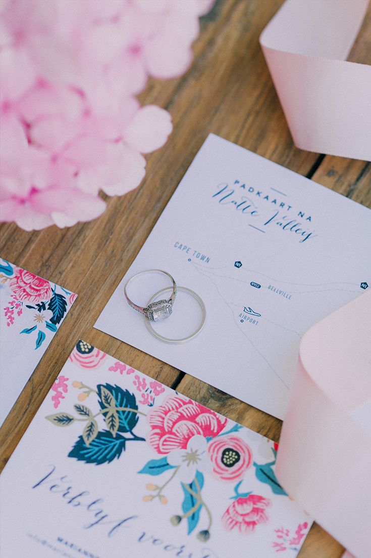 Beautiful floral wedding stationery ideas with soft pinks, turquoise and navy. Designed by the bride herself. For more of this boho garden wedding go to http://michelledt.com/hestre-johan/