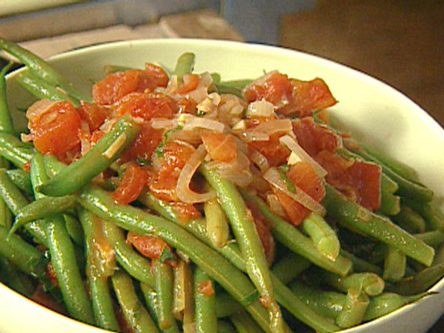 Sauteed Green Beans with Tomatoes and Basil served with Parmesan Crisps Recipe : Giada De Laurentiis : Food Network - FoodNetwork.com