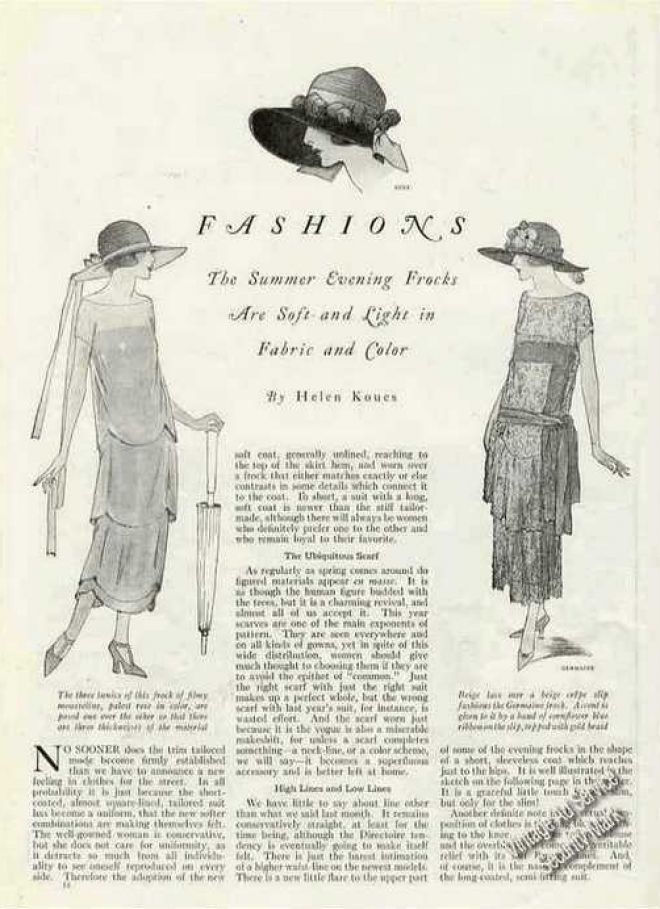 1924 Fashions Magazine Drawings & Article Summer Frocks