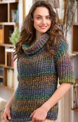Cowl Neck Slouchy Sweater Free Knitting Pattern from Red Heart Yarns