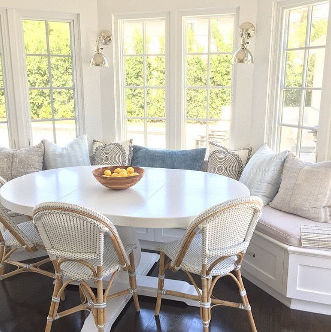 A white painted wood oval table might work in the breakfast nook. I also like the sconces since there may not be a lot of light with the patio covered right outside.