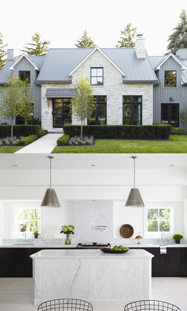 I really love this off white cobblestone siding with the black windows. Looks perfect - modern farmhouse
