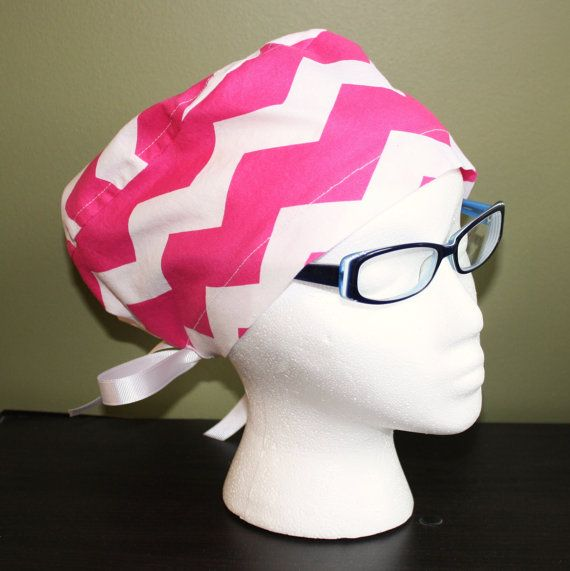 Hot Pink Chevron Surgical Scrub Hat by FourEyedCreations on Etsy, $15.00