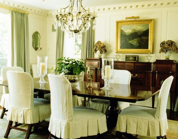 White Dove Walls Green Silk Curtains And Slip Covered Chairs For Dining Room