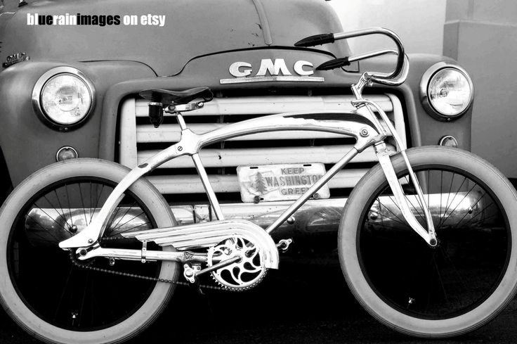 Freedom Rider, Black And White, Truck Photography, Old Bikes, Urban Photography by bluerainimages on Etsy