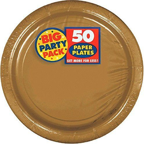 Amscan Big Party Pack 50 Count Paper Dessert Plates, 7-Inch, Gold by Amscan, http://www.amazon.com/dp/B004UUK2EK/ref=cm_sw_r_pi_dp_-gOrzbPPZWE2C