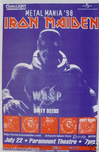 "Heavy Metal Music Posters | ... WASP ""METAL MANIA 1998"" DENVER CONCERT TOUR POSTER - Heavy Metal Music"