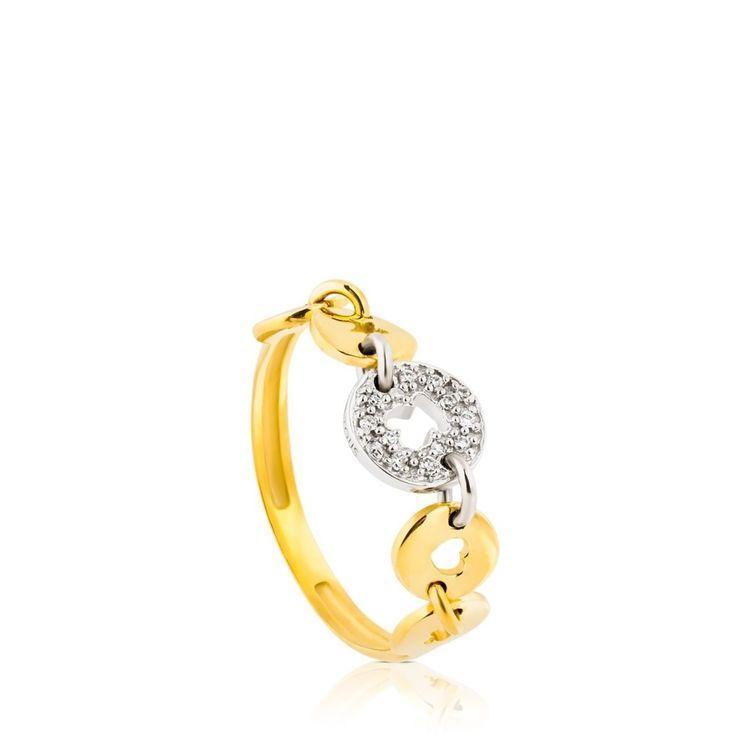 Złoty pierścionek z brylantami Tous Confeti