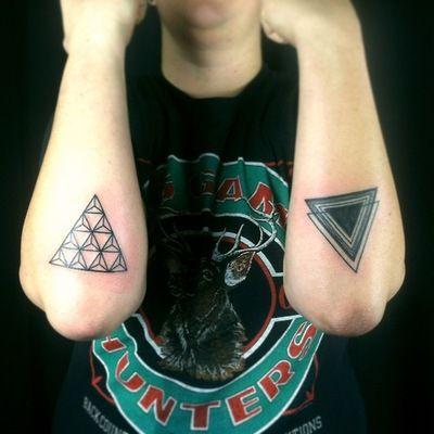 Forearm triangle tattoos. #geometric
