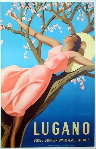 An old tourism-advertising for Lugano/Switzerland. This will be ME this summmer!!!