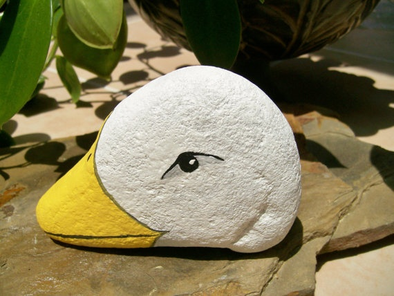 Duckie Painted Stone Rock Art by 2birdstudio on Etsy, $12.00