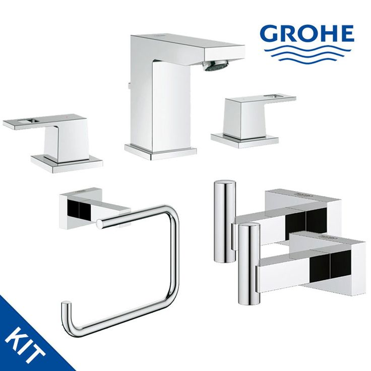 grohe eurocube essentials bathroom kit faucet roll holder robe hooks bathroom and products. Black Bedroom Furniture Sets. Home Design Ideas