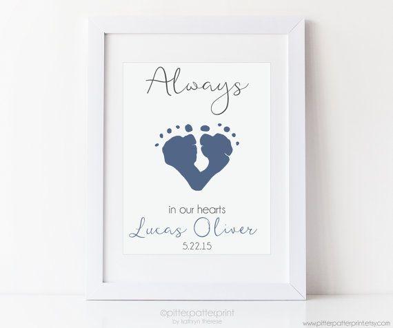 Baby Memorial Art Print Footprint Art Loss of Child Infant