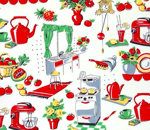 Michael Miller Fabric, Fifties Kitchen, Retro