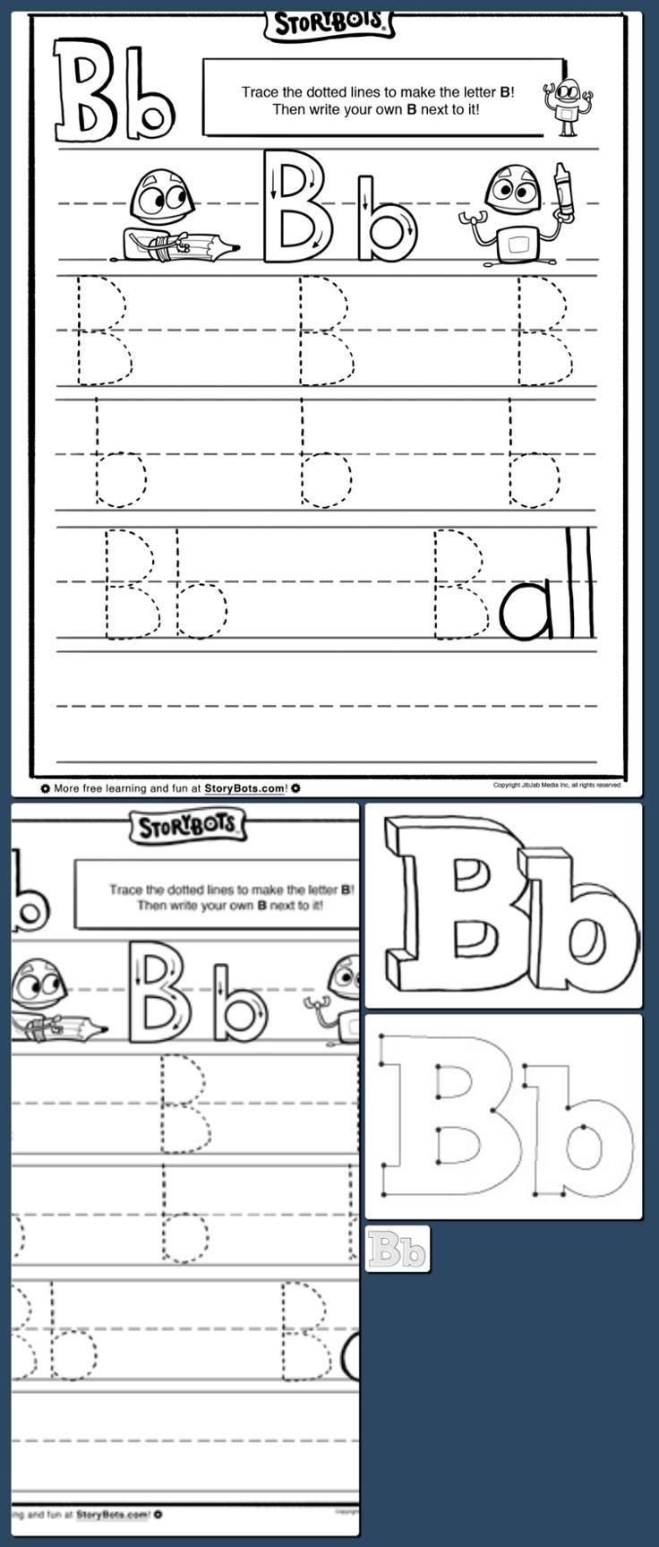 Letter B Tracing Sheet - ABC Activity Sheets - StoryBots http://hoog.