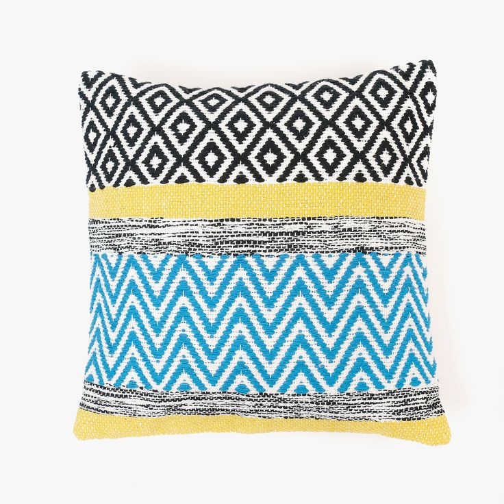 Capa de Almofada Alentejo Amarelo, Azul e Preto 45 x 45 cm | referência 82871725 | A Loja do Gato Preto | #alojadogatopreto | #shoponline