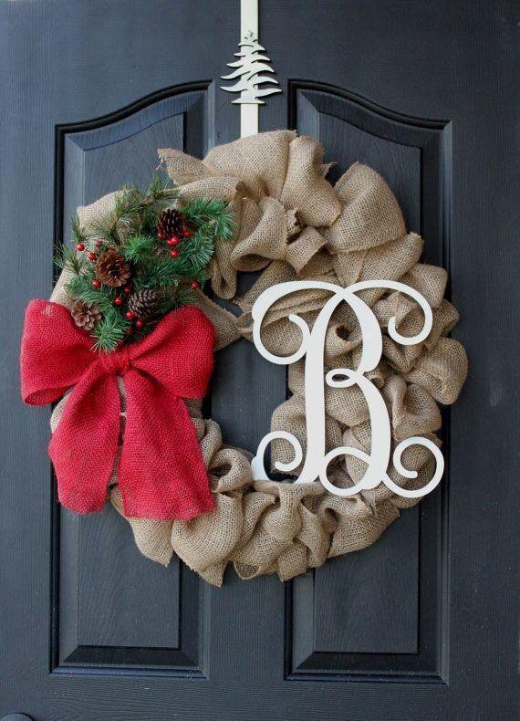 Christmas, sale!!!winter burlap wreath, with monogram letter