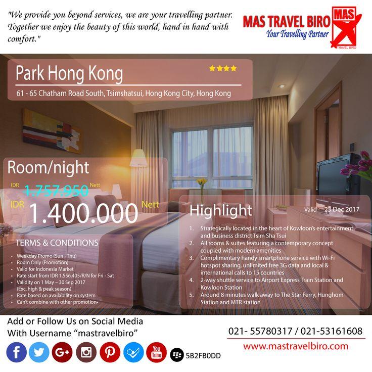 """Selamat pagi,Promo Hotel """"Park Hong Kong"""" dengan harga Rp 1.400.000 Nett/Malam. Yukk booking 🤗. #mastravelbiro #hongkong #promohotel"""