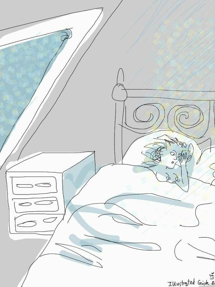 """Mad pregnancy thoughts: """"It's raining in my bed""""* * *  Pregnancy brings some weird thoughts. As the brain goes into its bubble and the body takes over…  http://illustratedguidetolife.com/2014/05/15/mad-pregnancy-thoughts-its-raining-in-my-bed/  Woman in bed, rain on the skylight; bedroom"""
