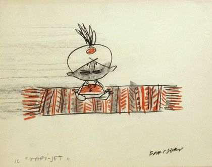 """Personaggio """"Cià cià pascià""""  Illustrazione di Marco Biassoni.  Testo che compare in basso a sinistra: Il \""""tapi-jet\"""" e il """"Cià cià pascià""""."""
