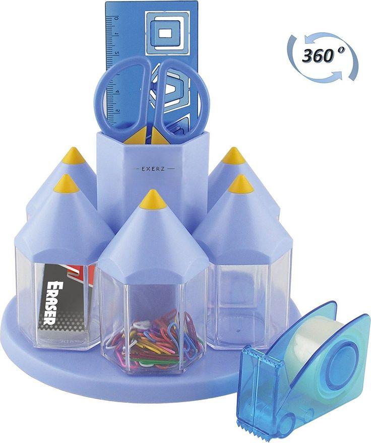 EXERZ EX058 O-Life Organizer da scrivania/ set ruotante portaoggetti da scrivania per penne con 5 scompartimenti per accessori - Diversi colori - riempito con forbici di sicurezza (non taglienti), righello, distributore di nastro adesivo, gomma, graffette (Rosa): Amazon.it: Fai da te